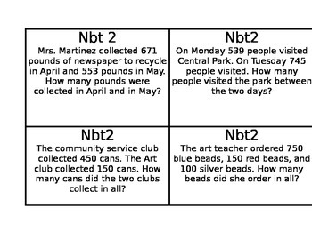 Third Grade- Task Cards- 3NBT2- Common Core