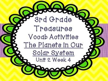 Third Grade Treasures 4 Vocabulary Games Planets Solar Sys