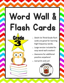 Third Grade Words Flash Cards and Word Wall Cards