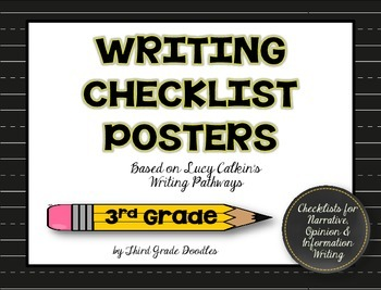 Third Grade Writing Pathways Checklist Posters -- 30 Poster Set!