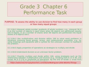 Third grade  Chapter 6 Math  Performance Task