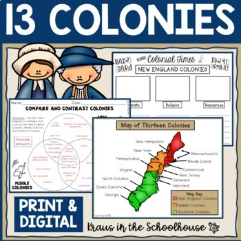Thirteen Colonies - New England, Middle, Southern Colonies