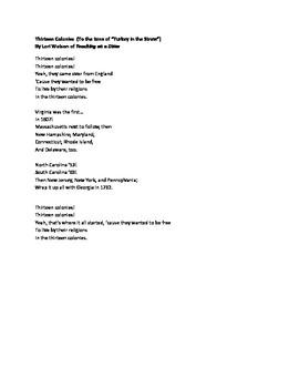 Thirteen Colonies Song