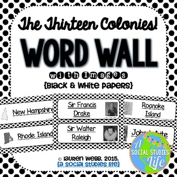 Thirteen Colonies Word Wall without definitions - Black an