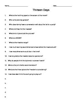 Thirteen Days Comprehension Questions