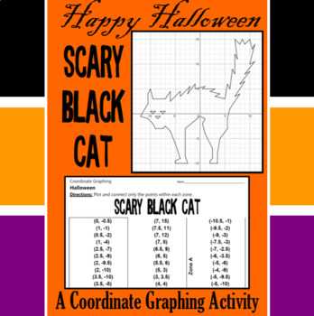 Halloween - Scary Black Cat - A Coordinate Graphing Activity