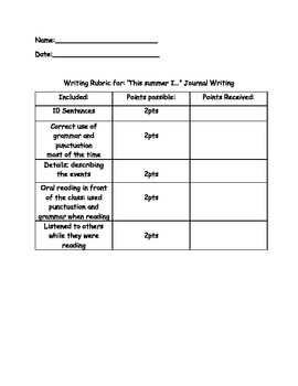 """""""This Summer I"""" Writing Rubric"""