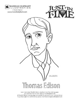 Thomas Edison Coloring Page For New Jersey