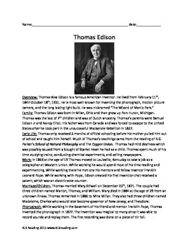 Thomas Edison - Review Article Lesson - History Info Facts