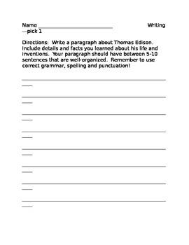 Thomas Edison paragraph
