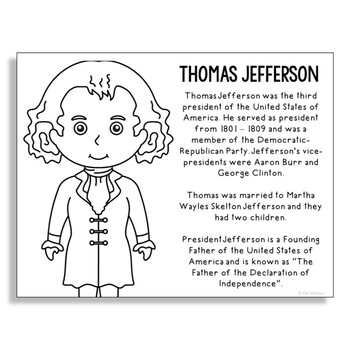 President Thomas Jefferson Coloring Page Activity or Poste
