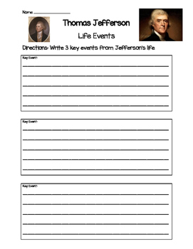 Thomas Jefferson- Key Life Events Worksheet