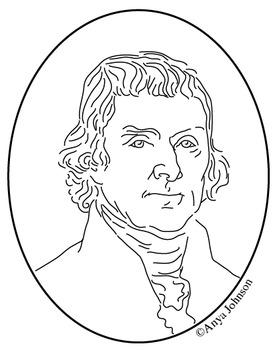 Thomas Jefferson (3rd President) Clip Art, Coloring Page o