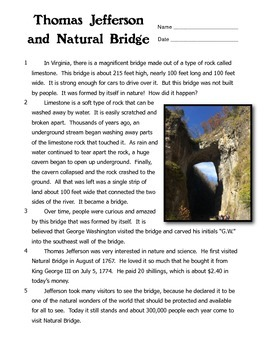 Thomas Jefferson and Natural Bridge Reading Comprehension
