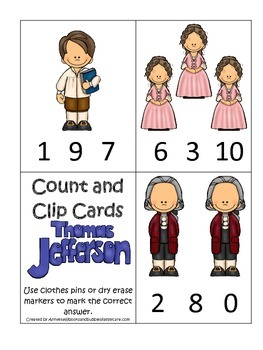 Thomas Jefferson themed Count and Clip Numbers Cards.  Pre