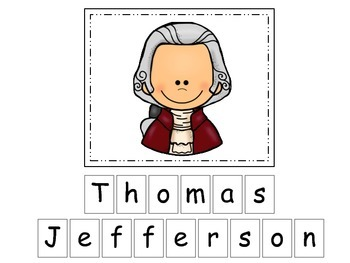 Thomas Jefferson themed Match the Letters Spelling.  Presc