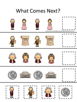 Thomas Jefferson themed What Comes Next preschool learning