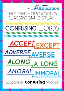 Thought-Provoking Classroom Display - CONFUSING WORDS