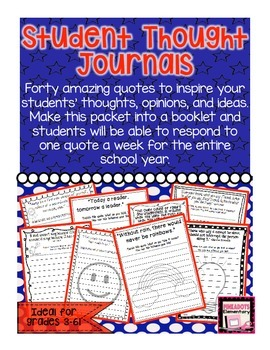 Thoughtful Quotes to Inspire Students! Weekly Reflection Journal!