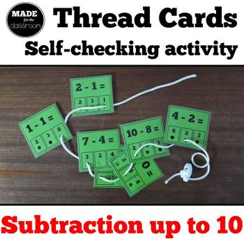 Thread cards, self-checking activity - Subtraction up to 10