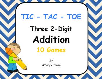 Three 2-Digit Addition Tic-Tac-Toe
