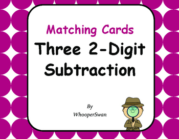 Three 2-Digit Subtraction Matching Cards
