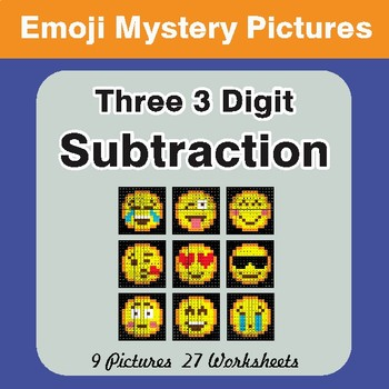 Three 3 Digit Subtraction Color-By-Number EMOJI Mystery Pictures
