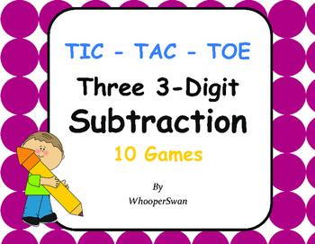 Three 3-Digit Subtraction Tic-Tac-Toe