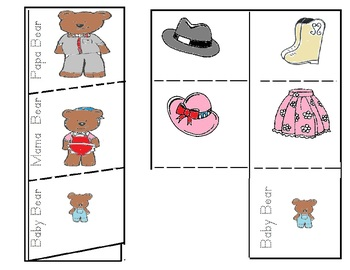 Three Bears Sorting Foldable Math Activities Eng. and Span
