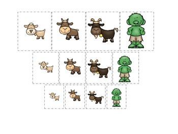 Three Billy Goats Gruff themed Size Sorting preschool educ
