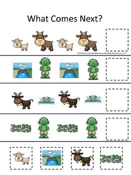 Three Billy Goats Gruff themed What Comes Next preschool e