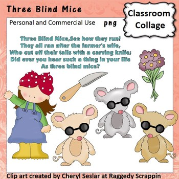 Three Blind Mice Clip Art personal & commercial use C Seslar