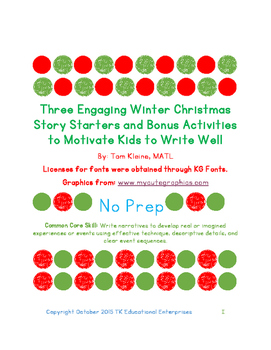 Three Christmas Story Starters and Bonus Activities to Hel
