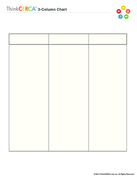 Three Column Chart- Graphic Organizer