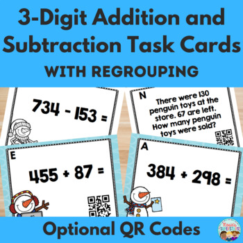 Three Digit Addition & Subtraction with Regrouping Winter