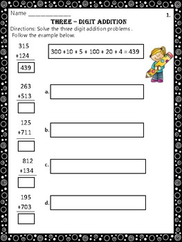 Three-Digit Addition Worksheets
