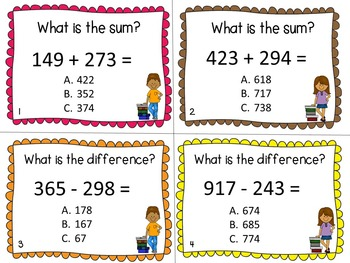 Three Digit Addition and Subtraction Task Cards