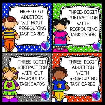 Three-Digit Addition and Subtraction Task Cards BUNDLE