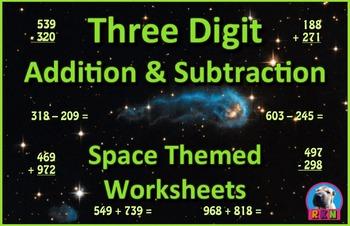 Three Digit Addition and Subtraction Worksheet Bundle - Sp