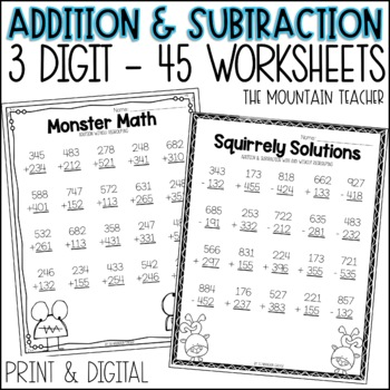 Three Digit Addition and Subtraction (with and without reg