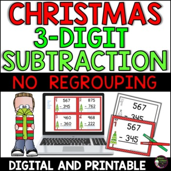Three-Digit Subtraction NO regrouping task cards (Christma