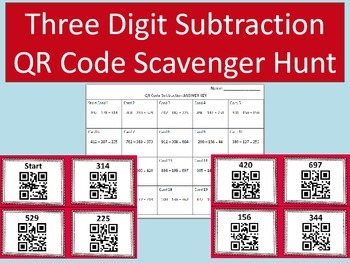 Three Digit Subtraction QR Code Scavenger Hunt