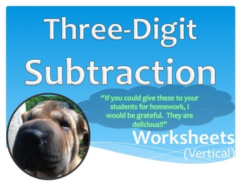 Three Digit Subtraction Worksheets - 15 Pages (Vertical)