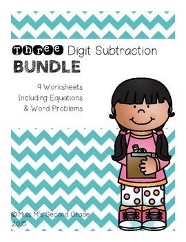 Three Digit Subtraction BUNDLE