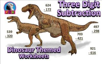 Three Digit Subtraction Worksheets - Dinosaur Themed - Vertical