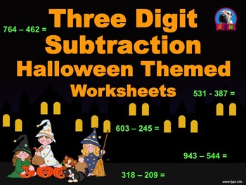 Three Digit Subtraction Worksheets - Halloween Themed - Ho