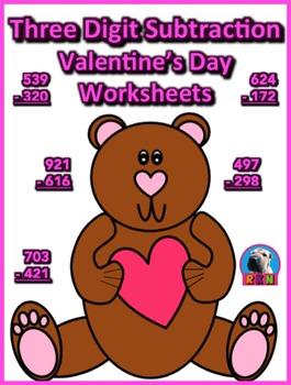 Three Digit Subtraction Worksheets - Valentine's Day Theme