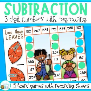 Three Digit Subtraction with Regrouping - Fall Themed