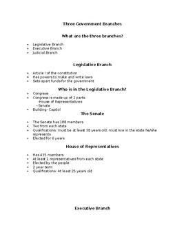 Three Government Branches Notes
