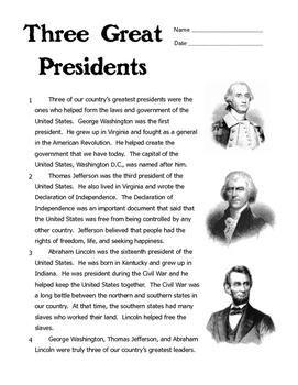 Three Great Presidents - Washington, Jefferson, Lincoln